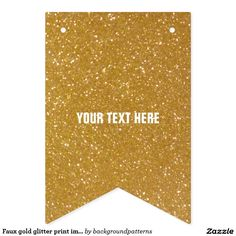 Faux gold glitter print image party bunting banner