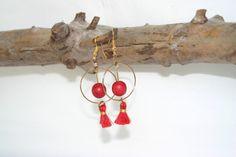 Boucles d'oreilles créoles rouge et or : Boucles d'oreille par melija