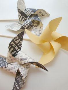 yellow and newspaper pinwheels