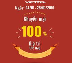 Khuyến mãi 100% Viettel ngày 24, 25/1 tại Bình Dương, Bắc Giang