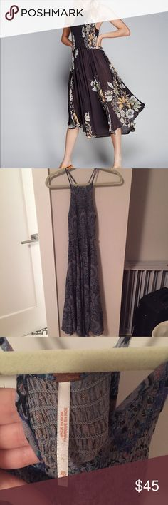 Free People Midi Floral Slip Dress in BLUE So comfy and flattering with tons of stretch up top and room on the bottom. I only have the blue color but I could only find a model picture with the black. Free People Dresses Midi