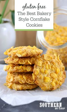 Jan 2020 - The Best Gluten Free Cornflake Cookies Recipe - These bakery style cornflake cookies are seriously easy to make, with soft fluffy centres and crisp chewy edges. A classic, old fashioned cookie recipe that will become your new family favourite. Cookies Sans Gluten, Gluten Free Cookie Recipes, Gluten Free Bakery, Gf Recipes, Keto Cookies, Healthy Cookies, Sweet Recipes, Baking Recipes, Dessert Recipes