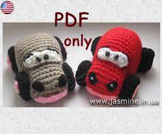Funny car amigurumi crochet pattern by jasminetoys on Etsy