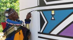 Esther Mahlangu, the well-known Ndebele artist has exhibited locally as well as abroad. Wolof Language, Geometric Painting, South African Artists, Contemporary Ceramics, Silk Painting, Color Photography, Ceramic Art, Bmw, The Incredibles