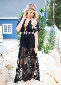 6545a1e696b To Die For Gypsy Lace Sheer Maxi Dress Black