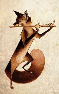 The Piper by Skia on DeviantArt Music Illustration, Fox Art, Fantasy Creatures, Furry Art, Portrait Art, Amazing Art, Fantasy Art, Art Drawings, Character Design