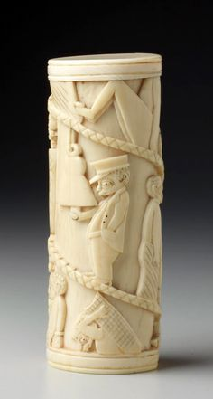 Africa | Tusk fragment from the Kongo Vili people of the Loango Region of DR Congo | Ivory; carved in relief | ca. 1850 - 1926