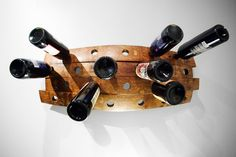 Wine Rack Made From Reclaimed Barrels