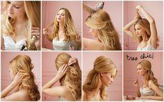 Meio a meio (via) Use um grande barril curling ferro para criar cachos soltos ao redor de sua cabeça, das orelhas para baixo.  Parte seu cabelo no meio, e use os dedos para soltar e separar os cachos de partida até a metade da peça, começam spritzing suas raízes com laca.  Continue para a coroa Para criar altura e volume, provocar o cabelo pulverizadas com um pente fino Use uma escova para alisar o cabelo suavemente brincou, e recolher os lados para cima em um rabo de cavalo meio.  Prenda os…
