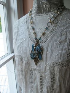 Upcycled Vintage Jewelry Necklace/ Vintage by VintageWonderlandGA