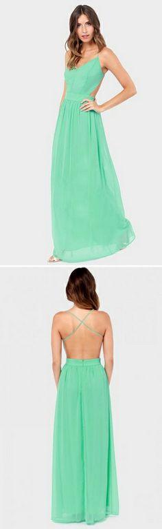 Green Spaghetti Strap Backless Pleated Long Dress Ғσℓℓσω ғσя мσяɛ ɢяɛαт ριиƨ Ғσℓℓσω: нттρ://ωωω.ριитɛяɛƨт.cσм/мαяιαннαммσи∂/