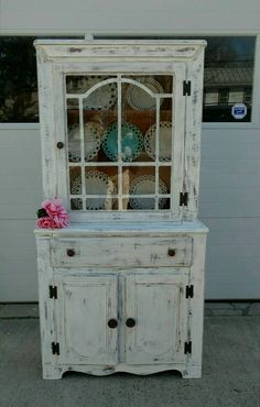 Vintage Breakfront,Shabby Chic Hutch,Vintage China Cabinet,Cottage  Cabinet,Farmhouse China