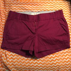 NWOT Cranberry JCrew Chino Shorts (size 2) Ordered in the wrong size and unable to return. Love these shorts! I have them in several colors in my right size! These are perfect for spring break or summer. They wash and dry like a dream and are flattering on every body type. J. Crew Shorts