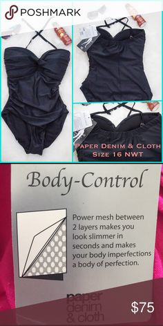 🆕Black 1 Piece Body Control Swimsuit  Size 16 NWT Sexy black one-piece Swimsuit from Paper, Denim & Cloth. If you're looking for a figure-flattering swimsuit that holds you in this is it!! Twist front bandeau style with padded cups (non-underwire) and removable straps. Best for bra sizes D cup & up. New with tags & hygienic liner.  ❤️Top Rated Seller ❤️Top 10% Seller 🛍Discount on bundles  💣I do not accept low-ball offers 🚫No Trades 🚫No Holds 🚭All items from smoke-free home 💞Poshmark…