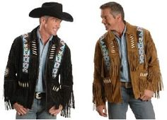 Eagle Bead Fringed Suede Leather Jacket - Item LW485T - Western Luxury Fringed Suede Leather   Jacket comes in your choice of Black or Tabacco. Choice of size Small, Medium, Large, X Large, XX Large, XXX Large, XXXX Large Vibrant southwest eagle beaded epaulets and beaded accent medallions Men's cow suede jacket with decorative beads, braided trim and fringe. Front zip-closure, full lay-down collar, 1 inside and 2 outer pockets, and satin lining. Imported Leather