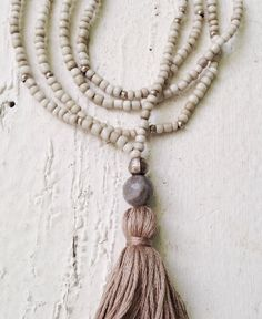 Image of Love Bead Necklace - Soft Cream Beads, Labradorite, Tassel Beaded Tassel Necklace, Tassel Jewelry, Diy Necklace, Necklace Designs, Diy Jewelry, Beaded Jewelry, Jewelry Design, Jewelry Making, Necklace Ideas
