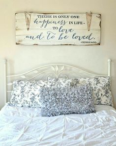 "Gorgeous farmhouse master bedroom ideas - home decor ideas. ""to love and to be loved"" wood sign {customizable} - aimee weaver My New Room, My Room, Cama Vintage, Bedroom Decor, Wall Decor, Bedroom Ideas, Bedroom Wall, Bedroom Signs, Bedroom Lighting"