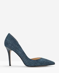 917c839a9 Chambray Print Suede d Orsay Heels