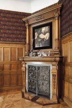Willa Edwarda Herbsta – neorenesansowy pałac wybudowany prawdopodobnie wg projektu Hilarego Majewskiego w latach 1875–1877, w którym zamieszkała najstarsza córka Karola Scheiblera z mężem Edwardem Herbstem. Pałac wzniesiono u zbiegu … Stove Fireplace, Wood Fireplace, Fireplace Surrounds, Fireplace Mantels, Fireplaces, Foyers, Wood Stoves, Herd, Mantles