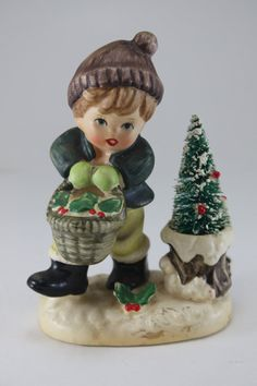Hummel Figurines Christmas | Vintage Porcelain Christmas Figurine - Hummel Style Boy With Basket ...