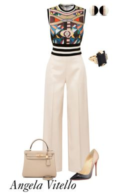 """Untitled #832"" by angela-vitello ❤ liked on Polyvore featuring The Row, Givenchy, Christian Louboutin, Hermès and Marni"