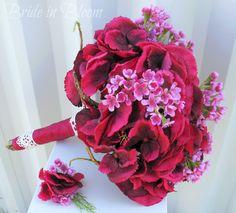 Raspberry lace Wedding bouquet silk flower by BrideinBloomWeddings, $100.00