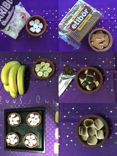 Marshalow tatlısı Güveç kaplarına marshalow, bisküvi,muz,çikolata,tekrar marshalow yerleştirilir.Üstü kızarana kadar fırında pişirilir.