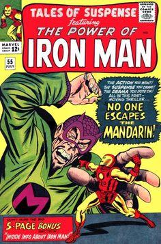 Tales of Suspense #55. Iron Man vs the Mandarin. Old Comic Books, Best Comic Books, Vintage Comic Books, Marvel Comic Books, Comic Book Artists, Comic Book Covers, Vintage Comics, Vintage Art, Caricature