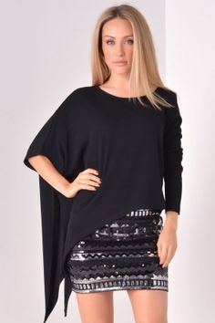 Gyra Assymetrical Top in Black Assymetrical Top, Winter Warmers, Sequin Skirt, Sequins, Skirts, How To Wear, Collection, Black, Tops