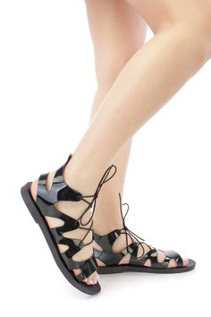 Black Lace Up Tie Jelly Gladiator Sandals PVC