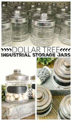 easy way to turn simple Dollar Tree jars into the perfect industrial storage!An easy way to turn simple Dollar Tree jars into the perfect industrial storage! Dollar Tree Decor, Dollar Tree Crafts, Dollar Tree Fall, Dollar Store Hacks, Dollar Stores, Thrift Stores, Dollar Dollar, Mason Jar Crafts, Mason Jar Diy