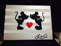 Mickey and Minnie Kissing... DIY Disney wall art