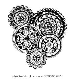 Vector Black and White Henna Rings Illustration White Henna, Mandala Tattoo, Black And White, Tattoos, Illustration, Rings, Cards, Ideas, Mandalas