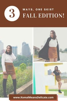 Suede skirt, fall fashion, over-the-knee boots, ankle booties, brown suede skirt. #falloutfits #fallskirt #falltights #blackanklebooties #brownskirt