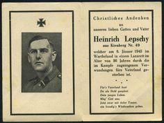 orig. WK2 STERBEBILD - DEATH CARD - ELITE SOLDAT - WARTHELAND Jan.1945