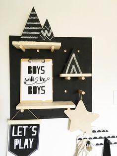 Pegboard Display with Shelves shelf display pegboard Pegboard Display, Display Shelves, Black Pegboard, Bedroom Black, Wall Organization, Shelfie, Scandinavian Style, Decoration, Kids Bedroom