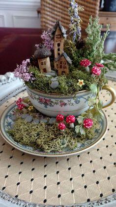 31 beautiful teacup mini garden ideas that bring happiness to your home # … - Diy Garden Projects Fairy Garden Plants, Mini Fairy Garden, Fairy Garden Houses, Diy Garden, Garden Crafts, Garden Ideas, Fairies Garden, Balcony Garden, Garden Pots