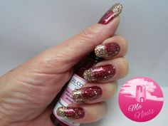 A gorgeous rich ruby red has been combined with a gradient of gold and holographic glitters for these Deep Red and Gold Glitter Nails. Stunning for New Year Gold Glitter Nails, Holographic Glitter, Pink Nails, Les Nails, New Year's Nails, Christmas Nail Designs, Fall Nail Designs, Super Nails, Nail Art Diy