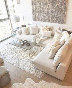 White living room from Modani Furniture. White living room from Modani Furniture. Condo Living Room, Living Room White, White Rooms, Apartment Living, Interior Design Living Room, Living Room Designs, Living Room Decor, White Apartment, Cozy Living