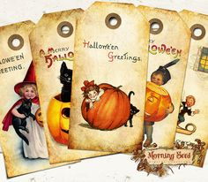 8 Vintage Halloween Tags Two Sizes - 4.5 x 2.25 inch and 3.5 x 1.75 inch - Halloween Gift Label Party Download