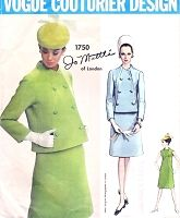 1960s FAB Mod JO MATTLI Dress and Jacket Pattern VOGUE COUTURIER Design 1750 Seam Interest Dress and Double Breasted Jacket Daytime or After 5  Bust 38 Vintage Sewing Pattern