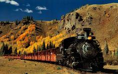 trem, locomotiva a vapor, paisagem