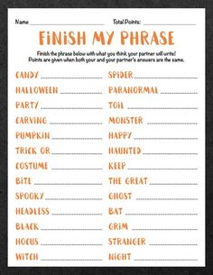 Finish My Phrase Finish The Phrase Halloween Scattergories image 1 Halloween Tags, Halloween Class Party, Family Halloween, Halloween Night, Easy Halloween, Holidays Halloween, Halloween Games For Adults, Thanksgiving Games For Adults, Halloween Trivia