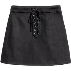 Skirt with Lacing $24.99 ($25) ❤ liked on Polyvore featuring skirts, black, h&m, a-line skirts, embellished skirt, knee length a line skirt, textured skirt and short skirts