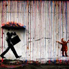 #Banksy #Rain #Graffiti