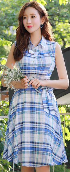 StyleOnme_Tartan Check Print Sleeveless Collared Dress #summertrend #feminine #koreanfashion #kstyle #kfashion #seoul #dailylook #check #dress #blue