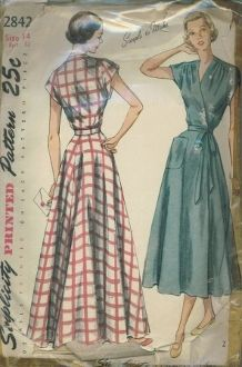 An original ca. 1949 Simplicity Pattern 2842.  Misses' and Women's One-Piece Wrap-Around House Dress and Housecoat: A shoulder yoke releases soft fullness in the bodice front. The yoke and sleeves are ct in one. The flared skirt is cut in four sections and features a patch pocket in front. A self-belt ties around the waist and forms a bow at the left side. Style 1 is full length, Style 2 is street length.
