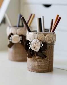 Bean cans turned into: Cute Shabby Chic Burlap Pencil Holders.  Easy to make!