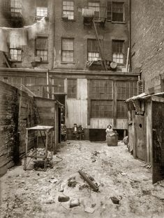"February 1912. ""Rear view of tenement, 134½ Thompson Street, New York City.  - Shorpy Historical Photo Archive :: Thompson Street: 1912"