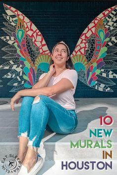 Y'all loved my last blog post on 5 new murals in Houston, so guess what? Here's 10 new murals in Houston! I have included addresses, pictures and tips for your visit. Stuff to do in Houston, things to do in Houston, Kelsey Montague art mural butterfly wings in Houston, Texas. Houston Art Stuff To Do, Fun Stuff, Things To Do, Houston Murals, Houston Heights, Space City, School Murals, H Town, 10 News